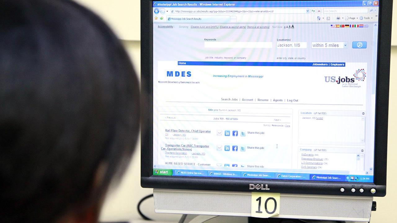 Online job search.