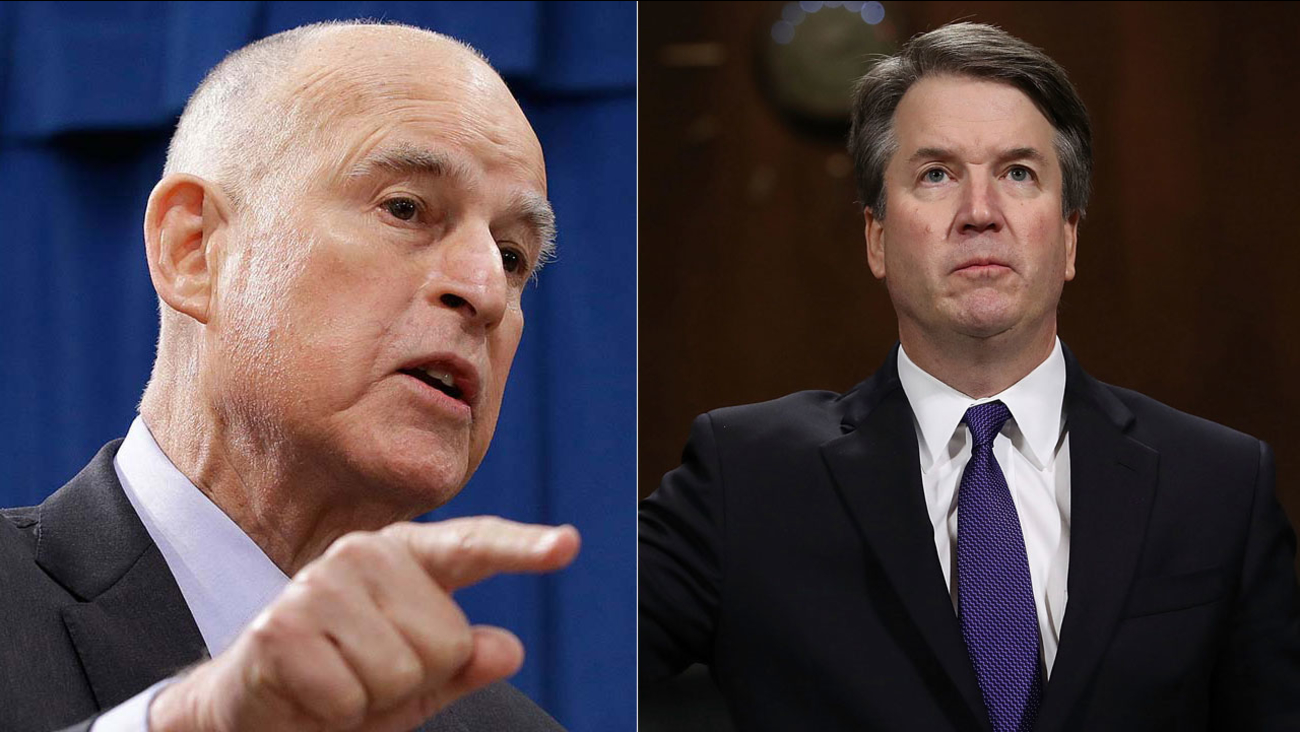 Gov. Brown responds to a question in Sacramento in this undated photo. Brett Kavanaugh is sworn in to testify before the Senate Judiciary Committee on Capitol Hill Sept. 27, 2018.