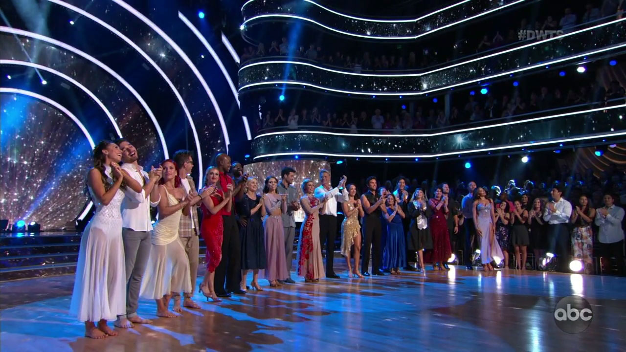 "The professional dancers and their celebrity partners gathered on the dance floor for the opening of ""Dancing With the Stars."""