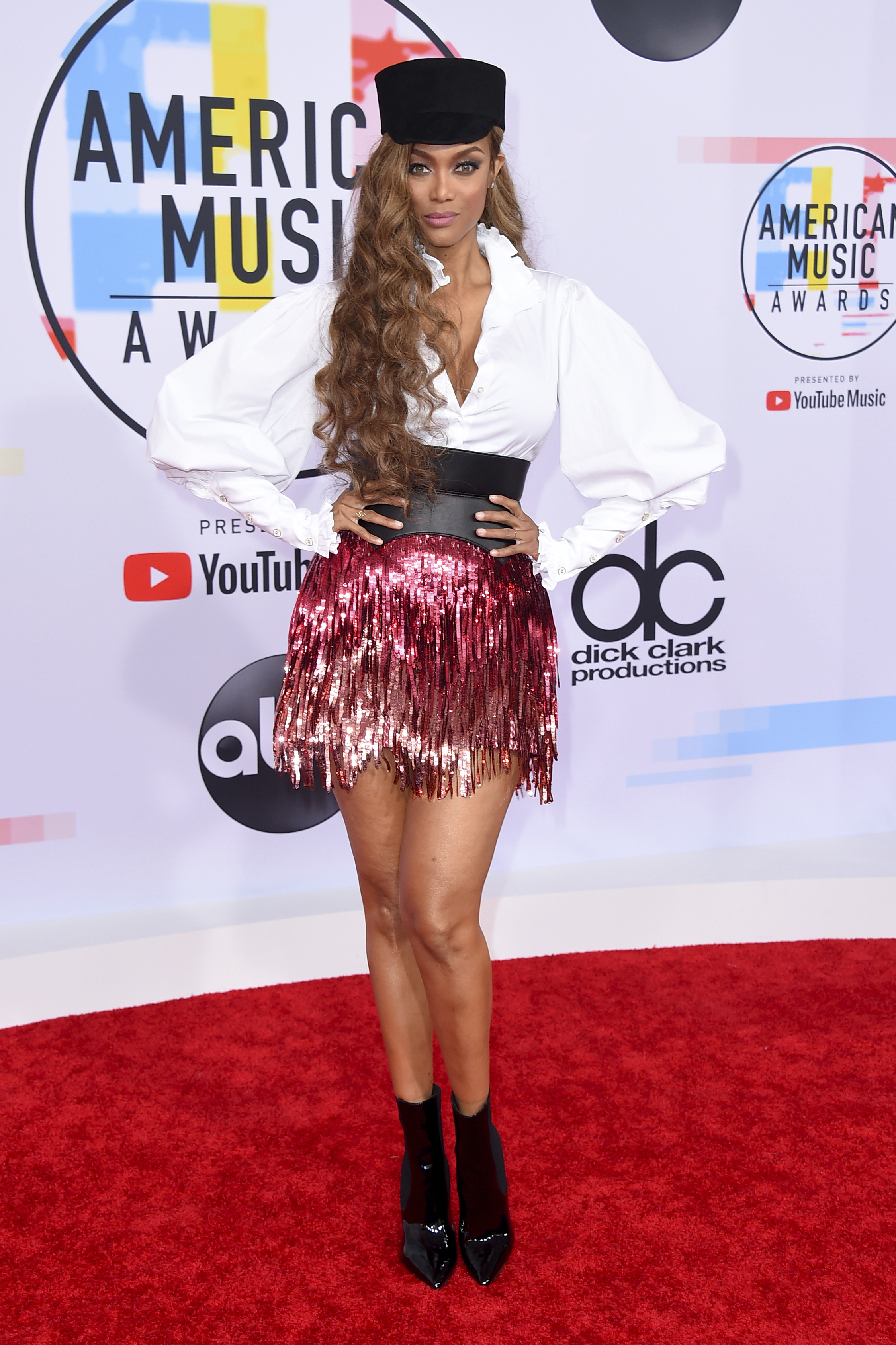"<div class=""meta image-caption""><div class=""origin-logo origin-image none""><span>none</span></div><span class=""caption-text"">Tyra Banks arrives at the American Music Awards on Tuesday, Oct. 9, 2018, at the Microsoft Theater in Los Angeles. (Jordan Strauss/Invision/AP)</span></div>"
