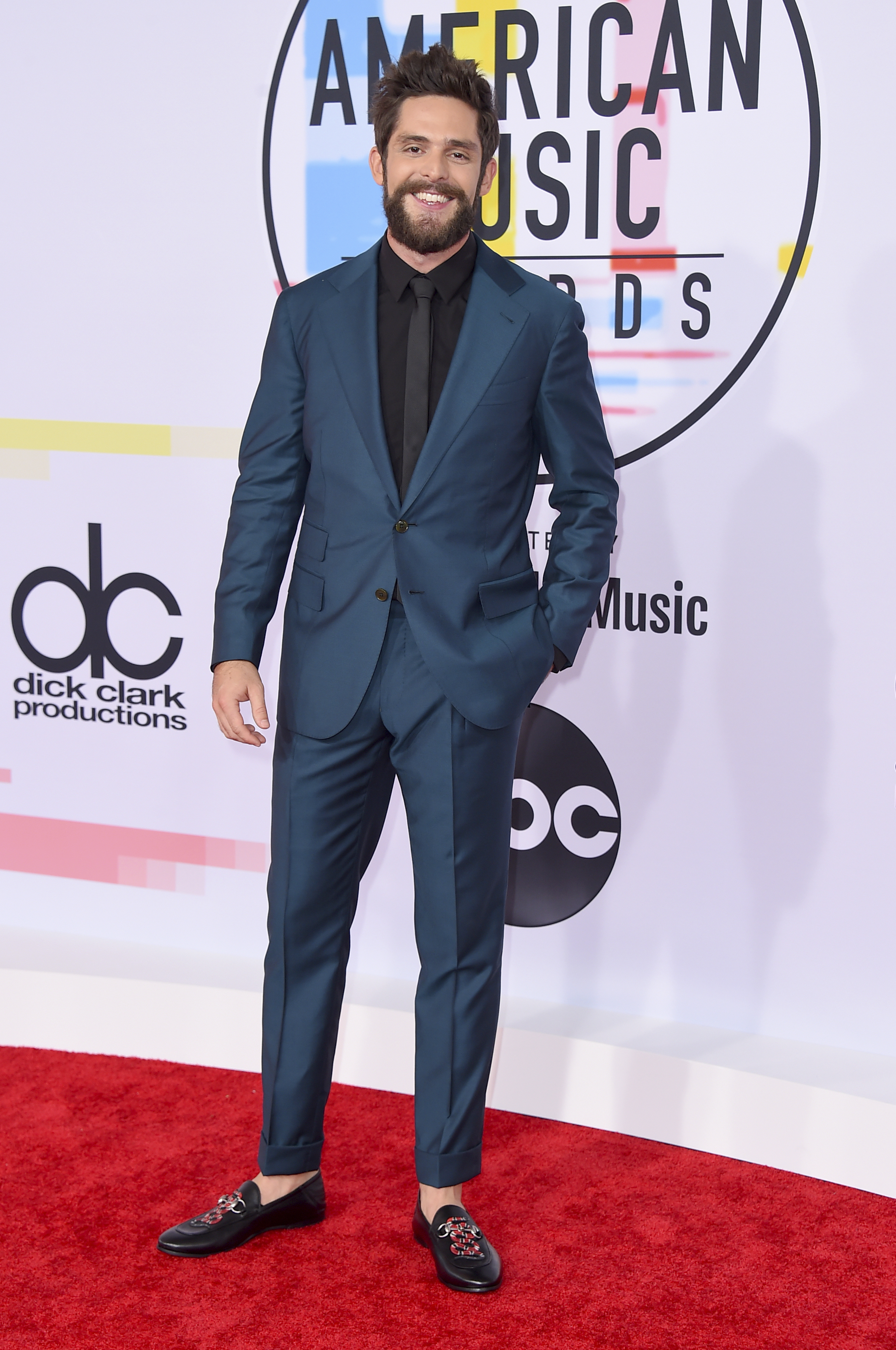 "<div class=""meta image-caption""><div class=""origin-logo origin-image none""><span>none</span></div><span class=""caption-text"">Thomas Rhett arrives at the American Music Awards on Tuesday, Oct. 9, 2018, at the Microsoft Theater in Los Angeles. (Jordan Strauss/Invision/AP)</span></div>"