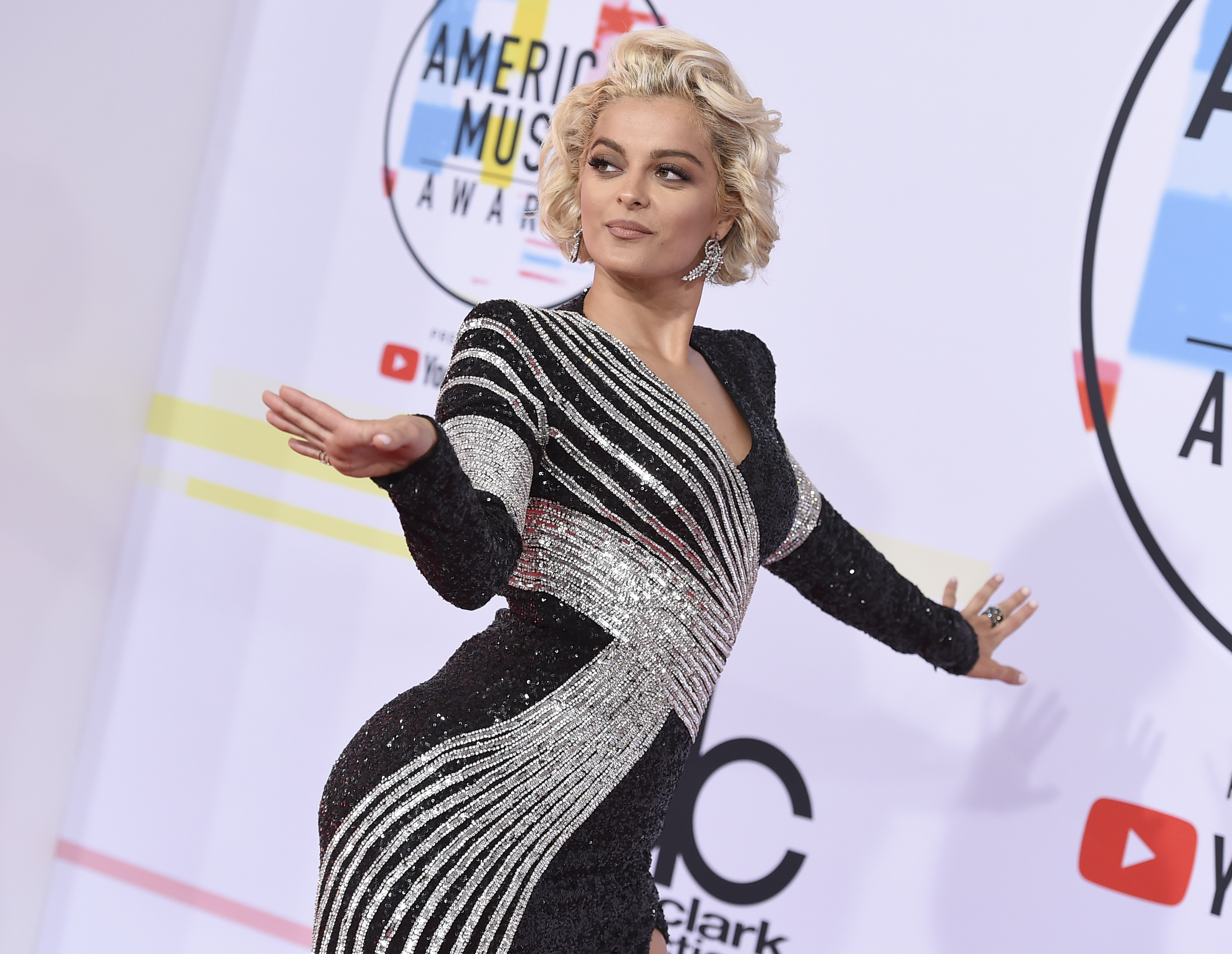 "<div class=""meta image-caption""><div class=""origin-logo origin-image none""><span>none</span></div><span class=""caption-text"">Bebe Rexha arrives at the American Music Awards on Tuesday, Oct. 9, 2018, at the Microsoft Theater in Los Angeles. (Jordan Strauss/Invision/AP)</span></div>"
