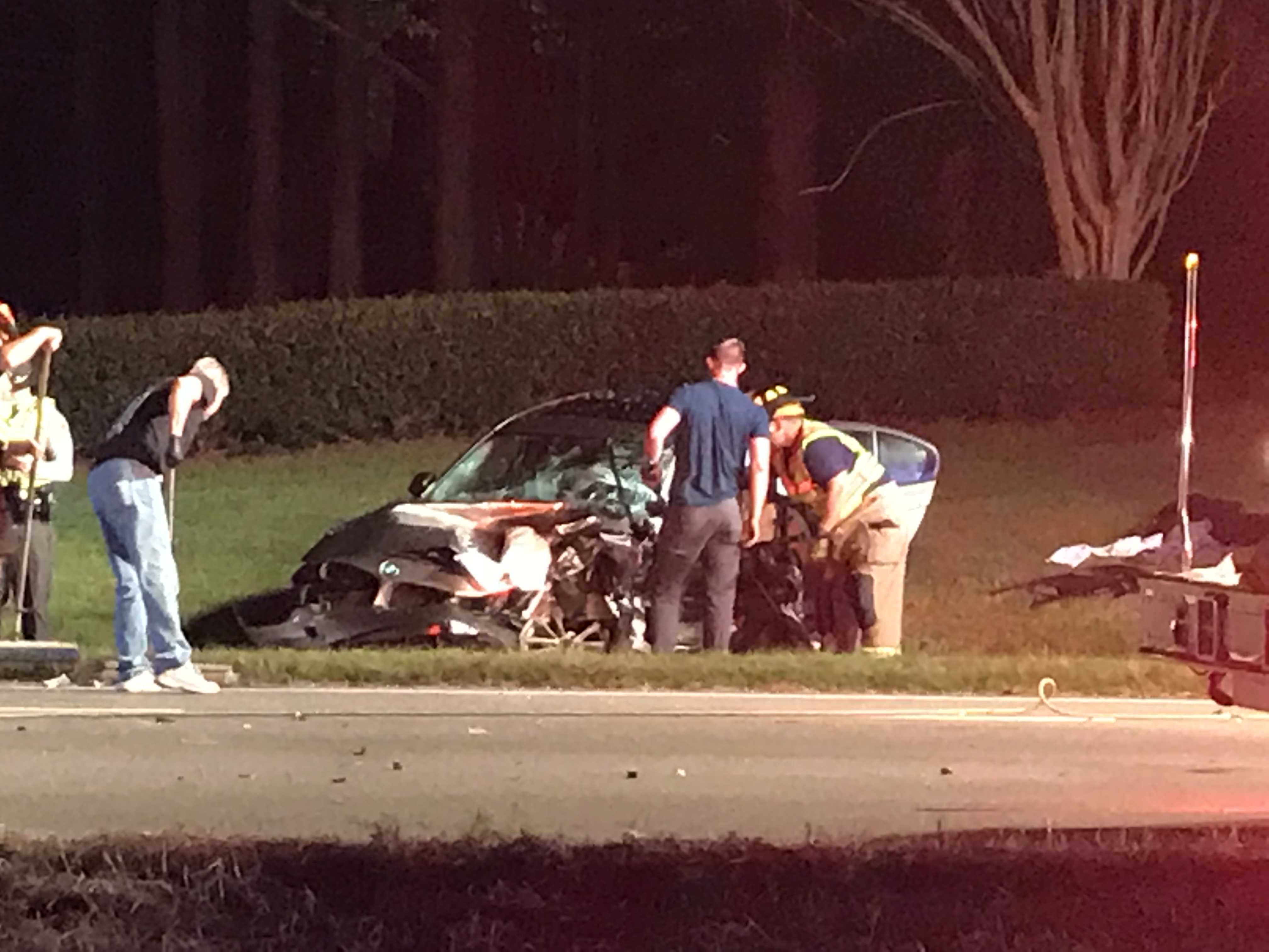 <div class='meta'><div class='origin-logo' data-origin='WTVD'></div><span class='caption-text' data-credit='Robert Judson'>Emergency crews respond to the scene of a two-vehicle crash that left a Wake County deputy and another driver injured Tuesday night.</span></div>