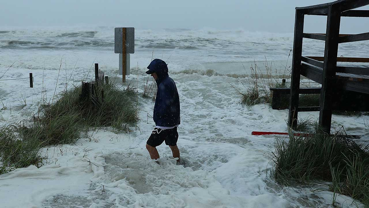 <div class='meta'><div class='origin-logo' data-origin='none'></div><span class='caption-text' data-credit='Joe Raedle/Getty Images'>Cameron Sadowski walks along where waves are crashing onto the beach as the outer bands of hurricane Michael arrive on October 10, 2018 in Panama City Beach, Florida.</span></div>