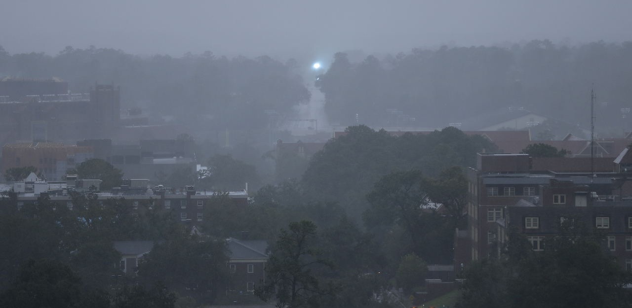 <div class='meta'><div class='origin-logo' data-origin='AP'></div><span class='caption-text' data-credit='AP Photo/Chris O'Meara'>An electric transformer explodes in the distance as heavy rains and wind from Hurricane Michael blanket the Florida State University campus Wednesday, Oct. 10, 2018.</span></div>