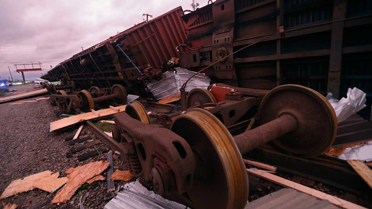 <div class='meta'><div class='origin-logo' data-origin='none'></div><span class='caption-text' data-credit='Gerald Herbert/AP Photo'>Derailed box cars are seen in the aftermath of Hurricane Michael in Panama City, Fla., Wednesday, Oct. 10, 2018.</span></div>