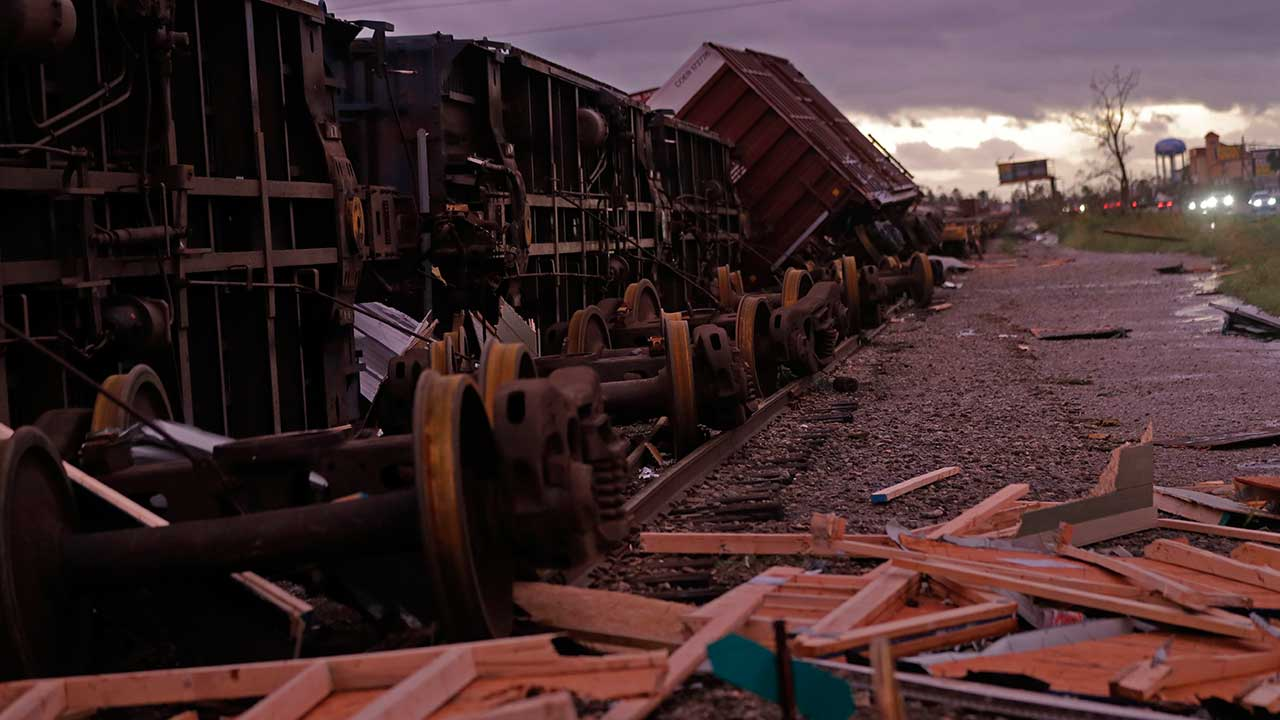 "<div class=""meta image-caption""><div class=""origin-logo origin-image none""><span>none</span></div><span class=""caption-text"">Derailed box cars are seen in the aftermath of Hurricane Michael in Panama City, Fla., Wednesday, Oct. 10, 2018. (Gerald Herbert/AP Photo)</span></div>"