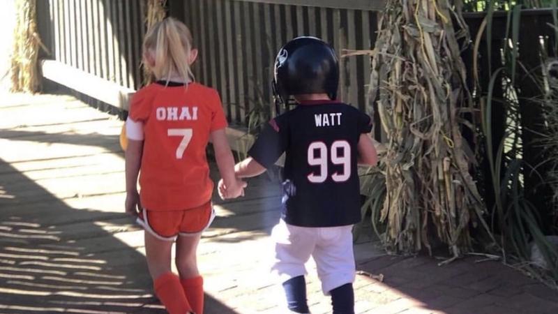 finest selection cf6aa 8d6b6 Kids dress up as J.J. Watt and Kealia Ohai