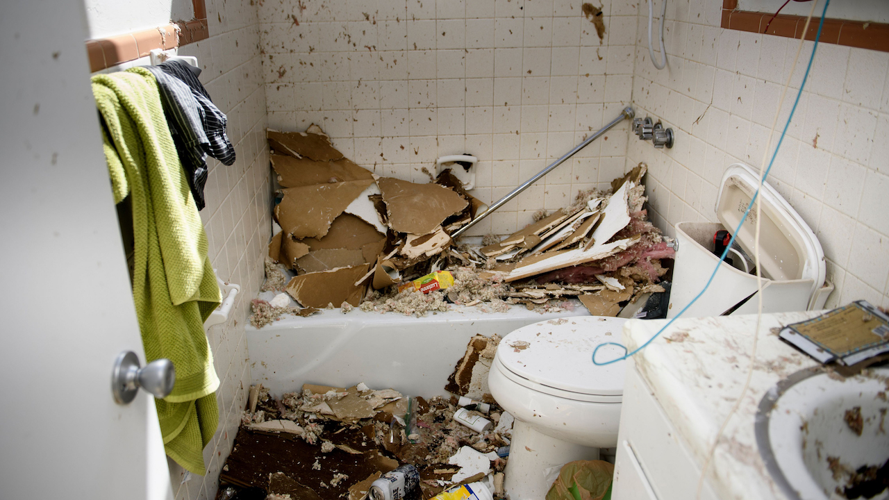 <div class='meta'><div class='origin-logo' data-origin='Creative Content'></div><span class='caption-text' data-credit='Brendan Smialowski/AFP/Getty Images'>Storm damage is seen in a bathroom that lost its roof in the aftermath of Hurricane Michael October 11, 2018, in Panama City, Florida.</span></div>