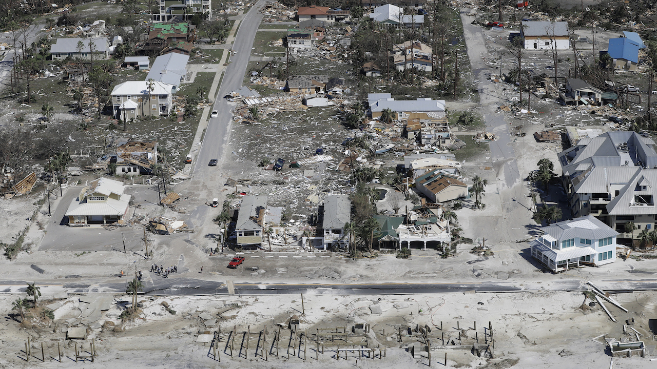 <div class='meta'><div class='origin-logo' data-origin='AP'></div><span class='caption-text' data-credit='AP Photo/Chris O'Meara'>Homes destroyed by Hurricane Michael are shown in this aerial photo Thursday, Oct. 11, 2018, in Mexico Beach, Fla.</span></div>