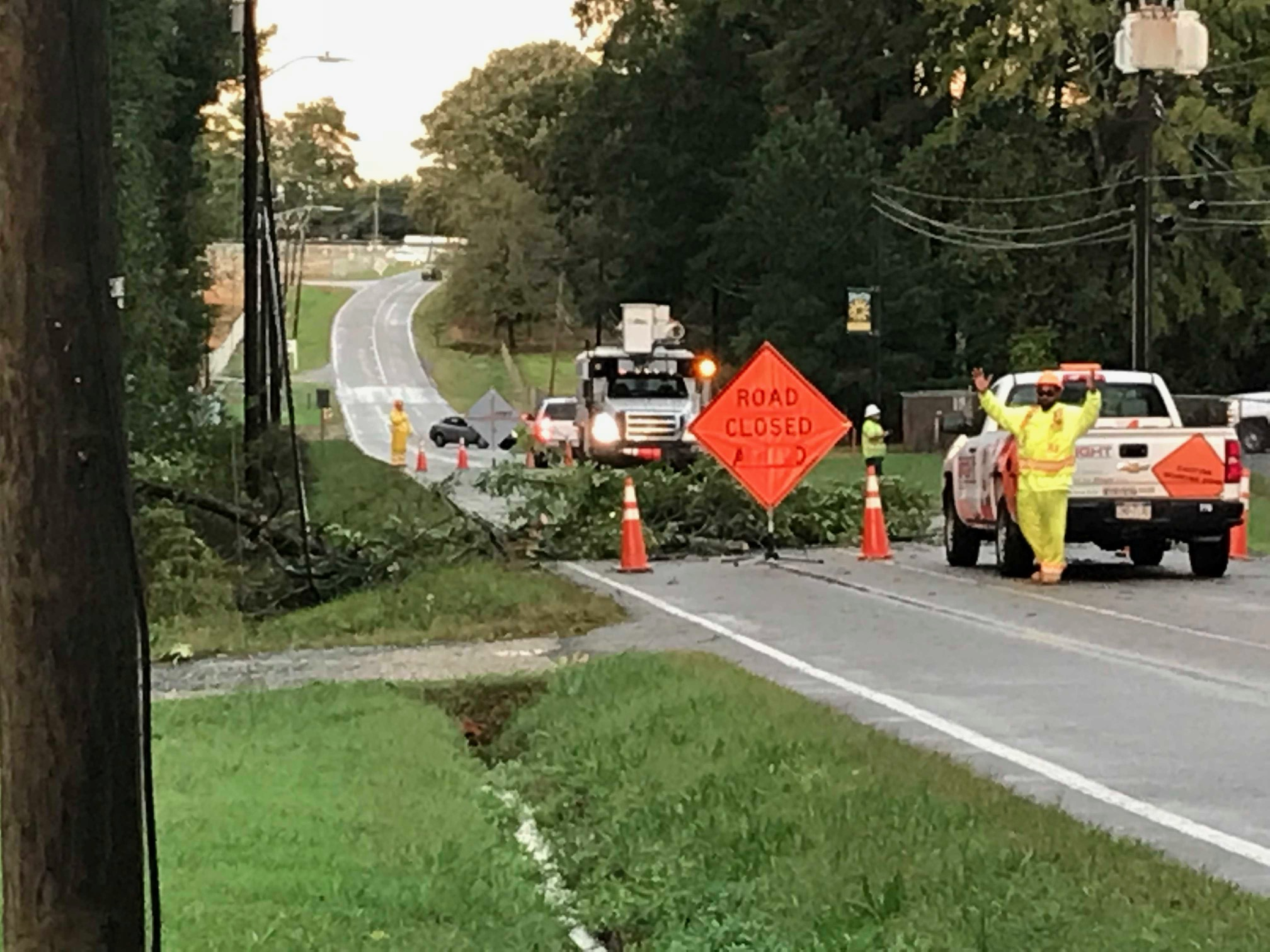 """<div class=""""meta image-caption""""><div class=""""origin-logo origin-image wtvd""""><span>WTVD</span></div><span class=""""caption-text"""">Michael leaves a mess in Siler City with downed trees and power outages. (Josh Chapin)</span></div>"""