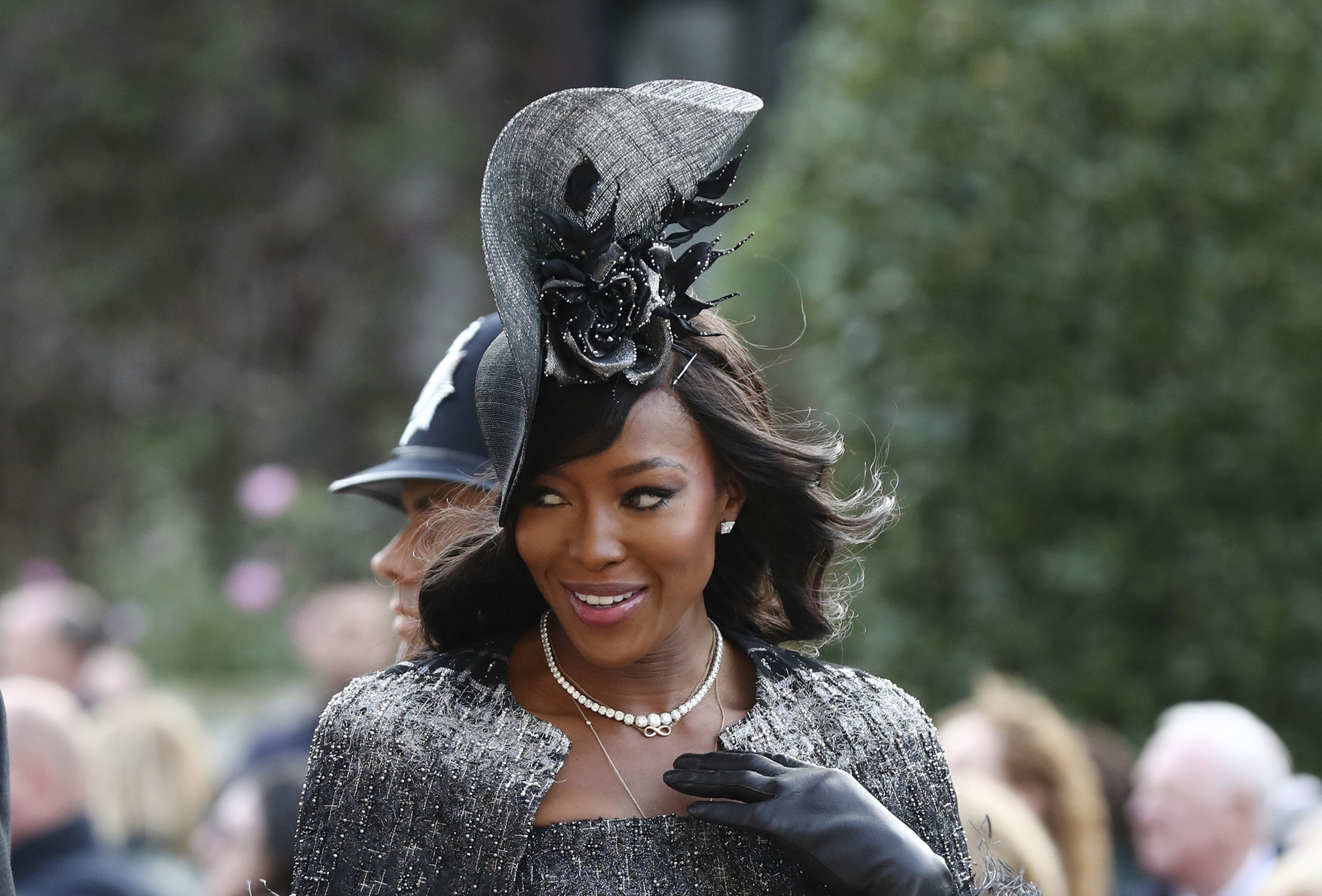 <div class='meta'><div class='origin-logo' data-origin='none'></div><span class='caption-text' data-credit='Gareth Fuller/Pool via AP'>Naomi Campbell arrives ahead of the wedding of Princess Eugenie of York and Jack Brooksbank at St George's Chapel, Windsor Castle, near London, England, Friday Oct. 12, 2018.</span></div>