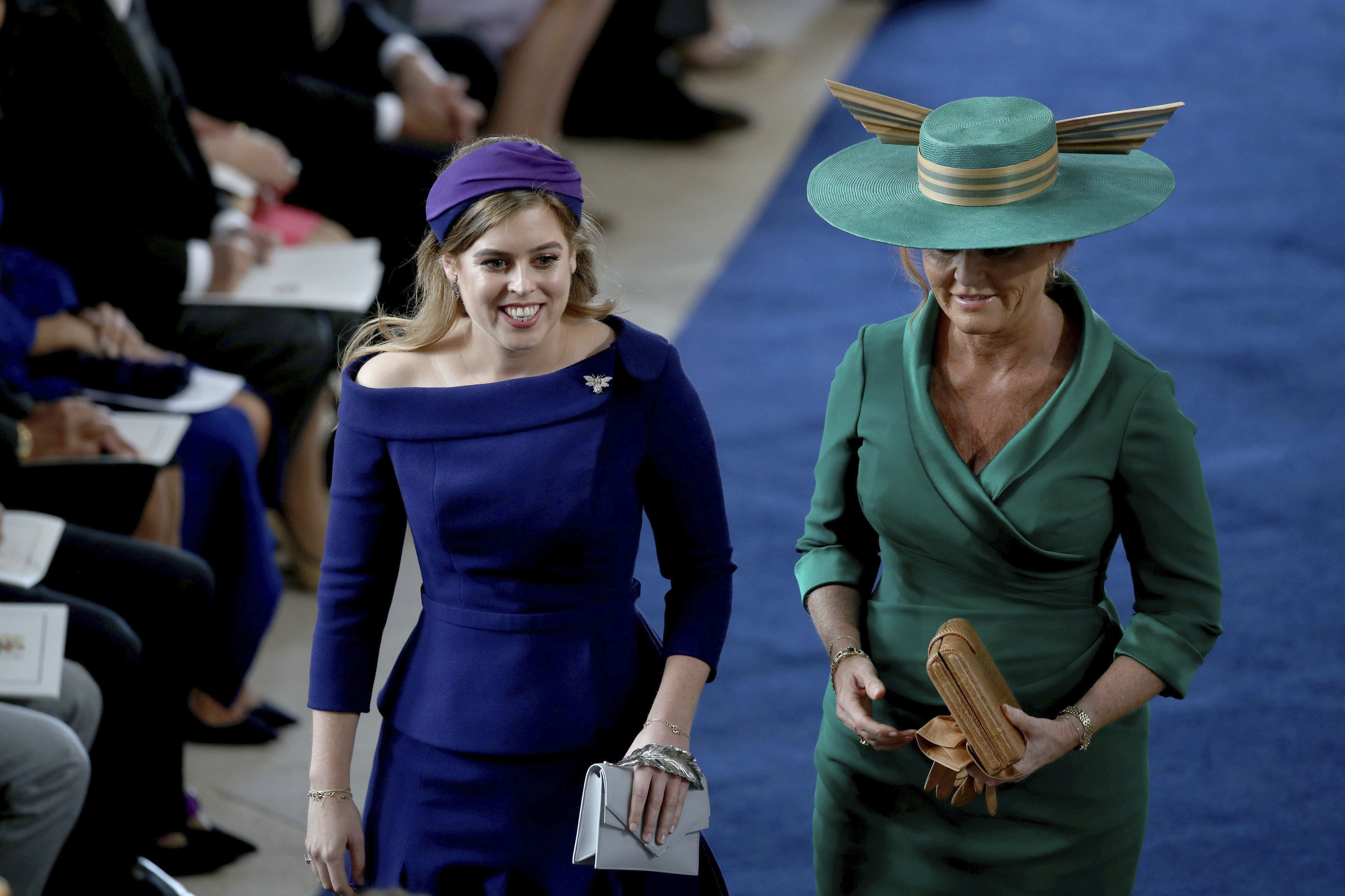 <div class='meta'><div class='origin-logo' data-origin='none'></div><span class='caption-text' data-credit='Yui Mok, Pool via AP'>Sarah Ferguson and Princess Beatrice arrive for the wedding of Princess Eugenie of York and Jack Brooksbank in St George's Chapel.</span></div>