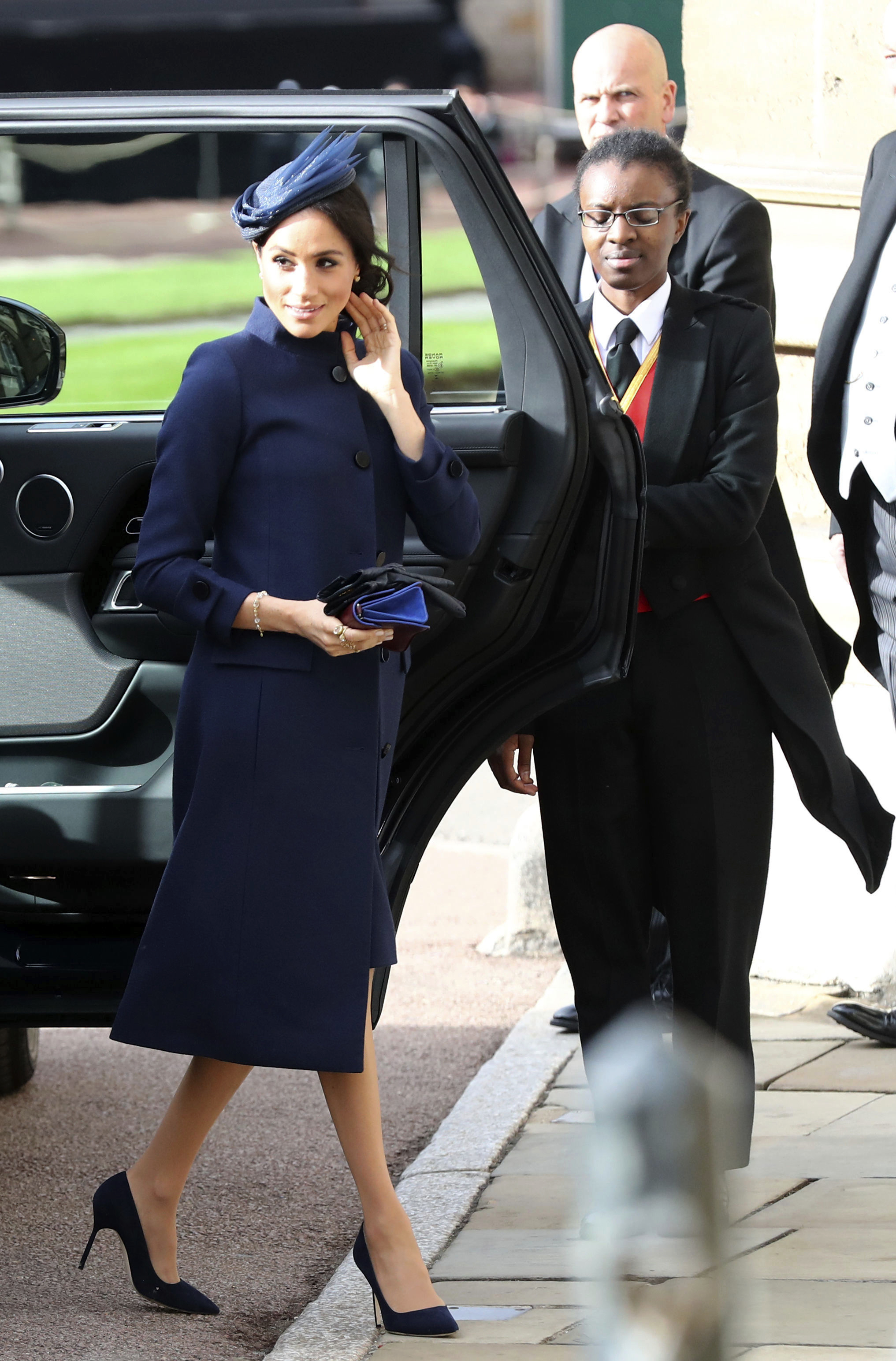 <div class='meta'><div class='origin-logo' data-origin='none'></div><span class='caption-text' data-credit='Gareth Fuller/Pool via AP'>Meghan, Duchess of Sussex arrives ahead of the wedding of Princess Eugenie of York and Jack Brooksbank at St George's Chapel, Windsor Castle, near London, England, on Oct. 12.</span></div>