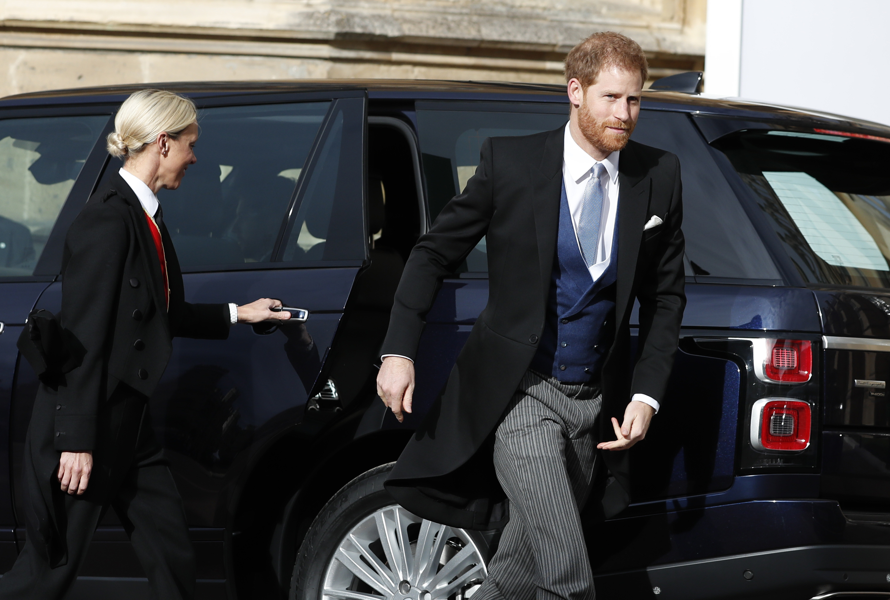 <div class='meta'><div class='origin-logo' data-origin='none'></div><span class='caption-text' data-credit='Alastair Grant, Pool via AP'>Britain's Prince Harry arrives for the wedding of Princess Eugenie of York and Jack Brooksbank at St George's Chapel, Windsor Castle, near London, England, Friday, Oct. 12, 2018.</span></div>