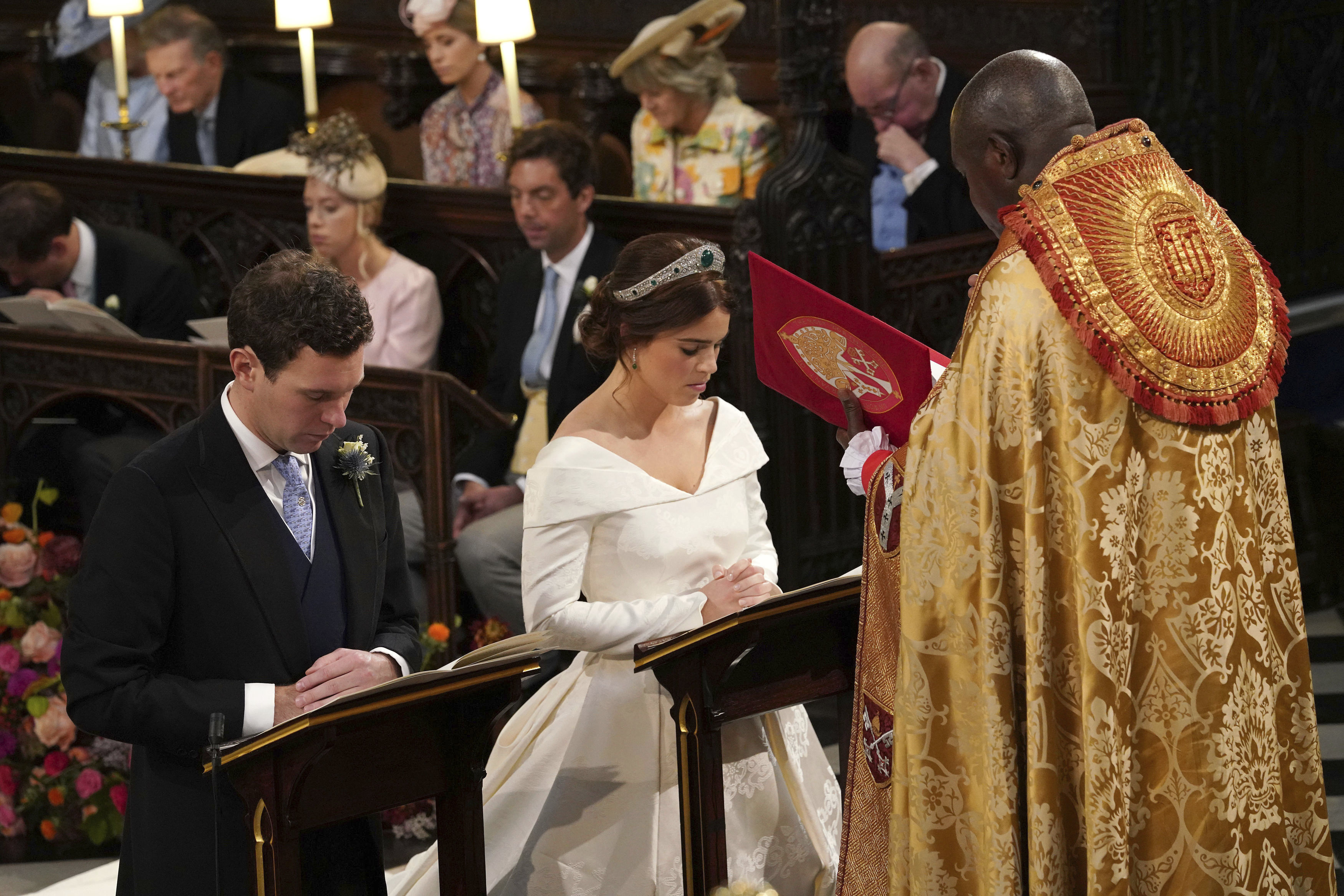 <div class='meta'><div class='origin-logo' data-origin='none'></div><span class='caption-text' data-credit='Jonathan Brady, Pool via AP'>The Archbishop of York Dr John Sentamu during the wedding ceremony between Princess Eugenie of York and Jack Brooksbank in St George's Chapel, Windsor Castle, near London, England.</span></div>