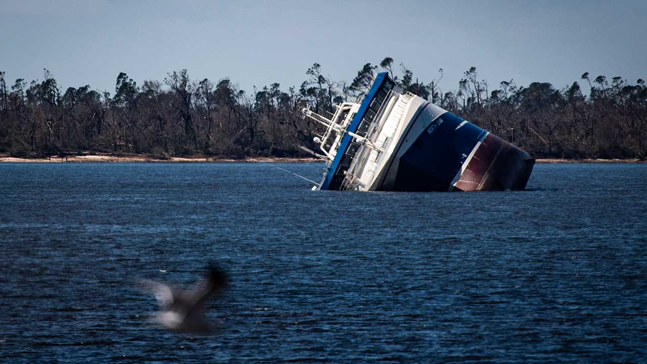 <div class='meta'><div class='origin-logo' data-origin='none'></div><span class='caption-text' data-credit='Jabin Botsford/The Washington Post via Getty Images'>A ship is seen capsized after category 4 Hurricane Michael made land fall along the Florida panhandle Wednesday, on Thursday, Oct. 11, 2018 in Panama City, FL.</span></div>