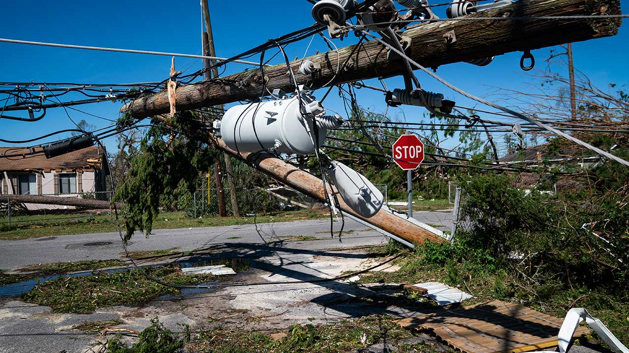 <div class='meta'><div class='origin-logo' data-origin='none'></div><span class='caption-text' data-credit='Jabin Botsford/The Washington Post via Getty Images'>Power lines and trees cover streets after category 4 Hurricane Michael made land fall along the Florida panhandle Wednesday, on Thursday, Oct. 11, 2018 in Panama City, FL.</span></div>