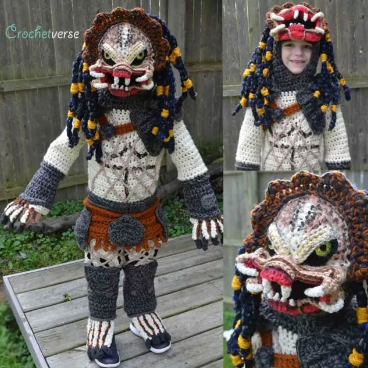 Mom Crochets Incredible Predator Halloween Costume For Her 6 Year