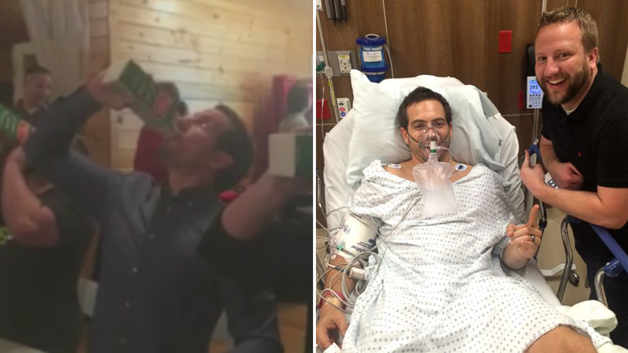 Ryan Roche participates in his office's holiday party eggnog chugging contest (left). Ryan Roche lies in his hospital bed (right).