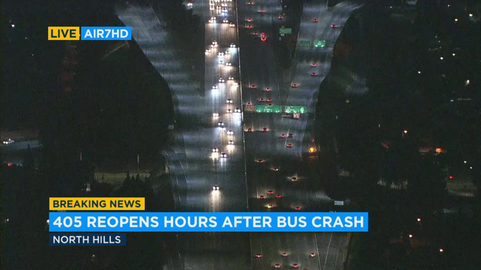 405 Fwy reopens hours after North Hills crash