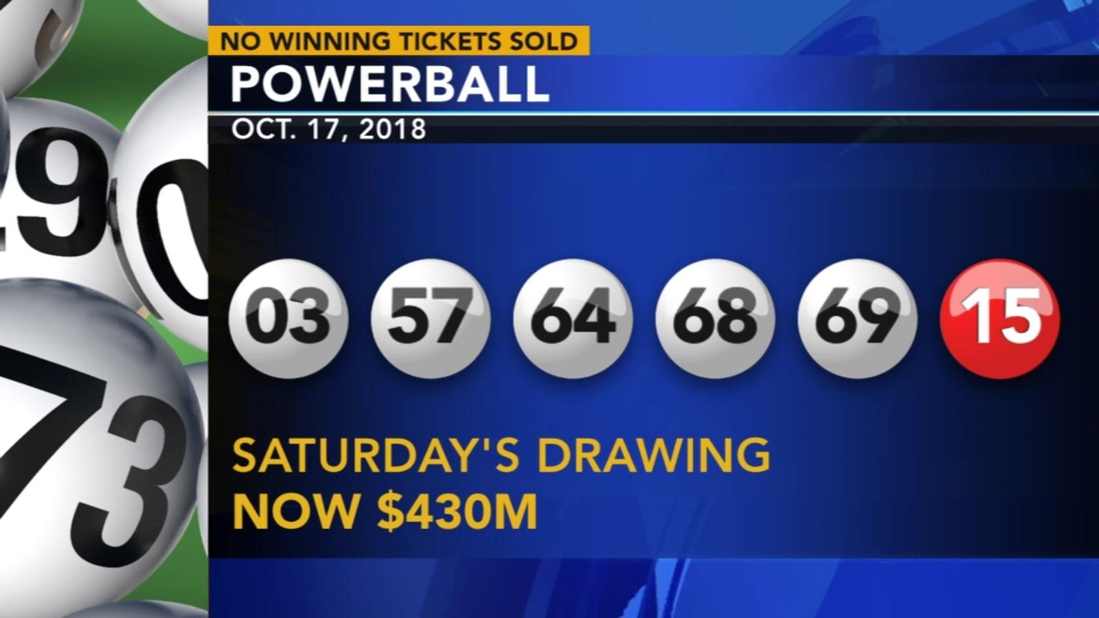 No Winning Powerball Tickets Sold Saturday Jackpot Now 430m 6abc Com