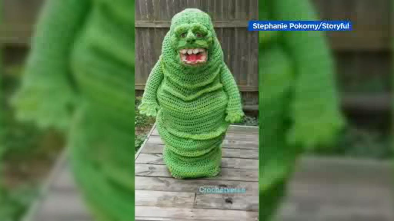 Kid Wins Halloween With His Epic Crochet Slimer Costume From