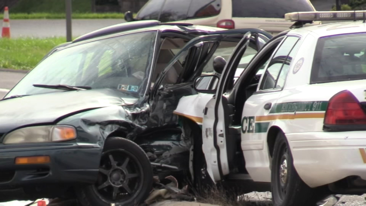 Coroner called to crash involving police outside Pennsylvania mall