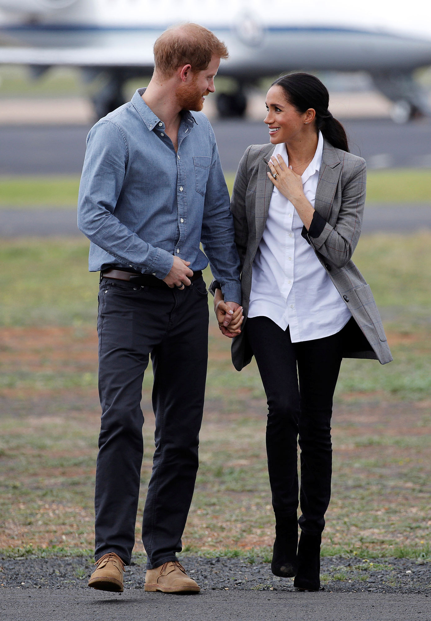 <div class='meta'><div class='origin-logo' data-origin='none'></div><span class='caption-text' data-credit='Phil Noble/Pool via AP'>Prince Harry and Meghan, Duchess of Sussex arrive in Dubbo, Australia, Wednesday, Oct. 17, 2018.</span></div>