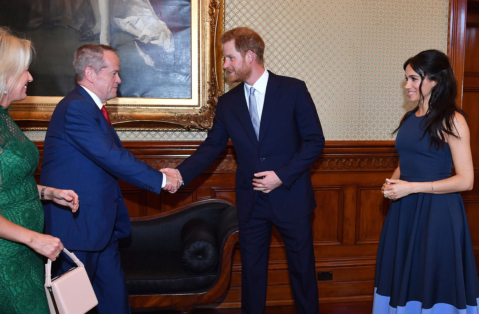 "<div class=""meta image-caption""><div class=""origin-logo origin-image none""><span>none</span></div><span class=""caption-text"">Prince Harry and Meghan, Duchess of Sussex, meet Australia's opposition leader Bill Shorten and his wife Chloe Shorten at Admiralty House in Sydney. (Saeed Khan/Pool Photo via AP)</span></div>"