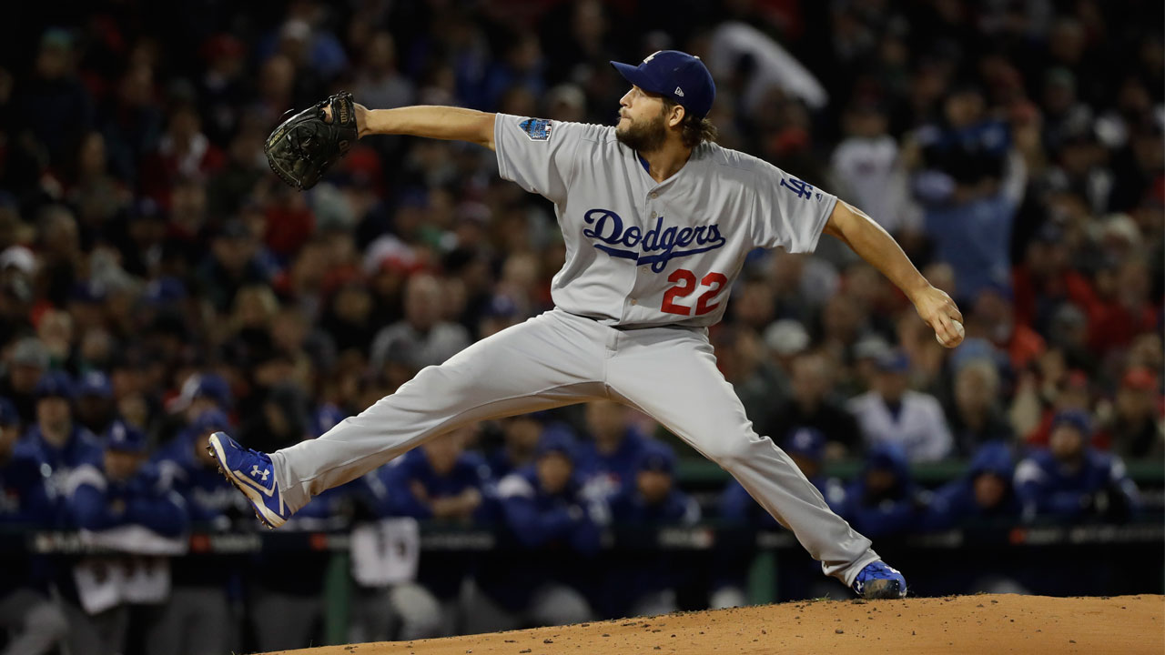 <div class='meta'><div class='origin-logo' data-origin='AP'></div><span class='caption-text' data-credit='AP Photo/David J. Phillip'>Los Angeles Dodgers pitcher Clayton Kershaw throws during Game 1 of the World Series baseball game against the Boston Red Sox Tuesday, Oct. 23, 2018, in Boston.</span></div>