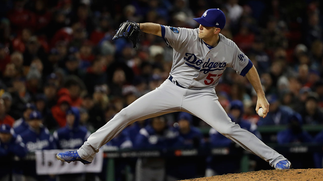 <div class='meta'><div class='origin-logo' data-origin='AP'></div><span class='caption-text' data-credit='AP Photo/David J. Phillip'>Los Angeles Dodgers pitcher Alex Wood throws against the Boston Red Sox during the seventh inning of Game 1 of the World Series.</span></div>