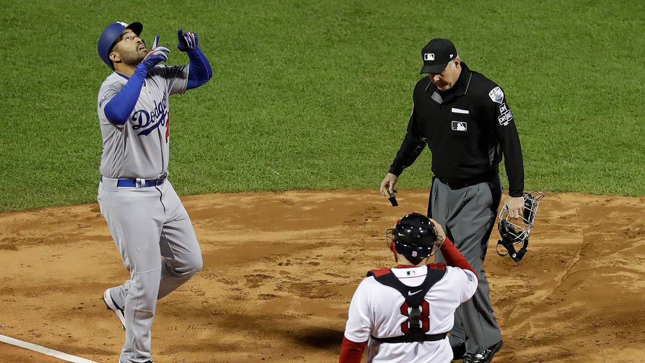 <div class='meta'><div class='origin-logo' data-origin='AP'></div><span class='caption-text' data-credit=''>Los Angeles Dodgers' Matt Kemp reacts after hitting a home run during the second inning of Game 1 of the World Series.</span></div>