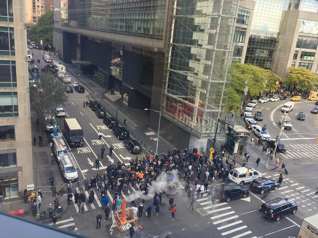 <div class='meta'><div class='origin-logo' data-origin='none'></div><span class='caption-text' data-credit='Richard Ma / Instagram'>A social media user shared a photo from a nearby building as the Time Warner Center was evacuated on Wednesday.</span></div>
