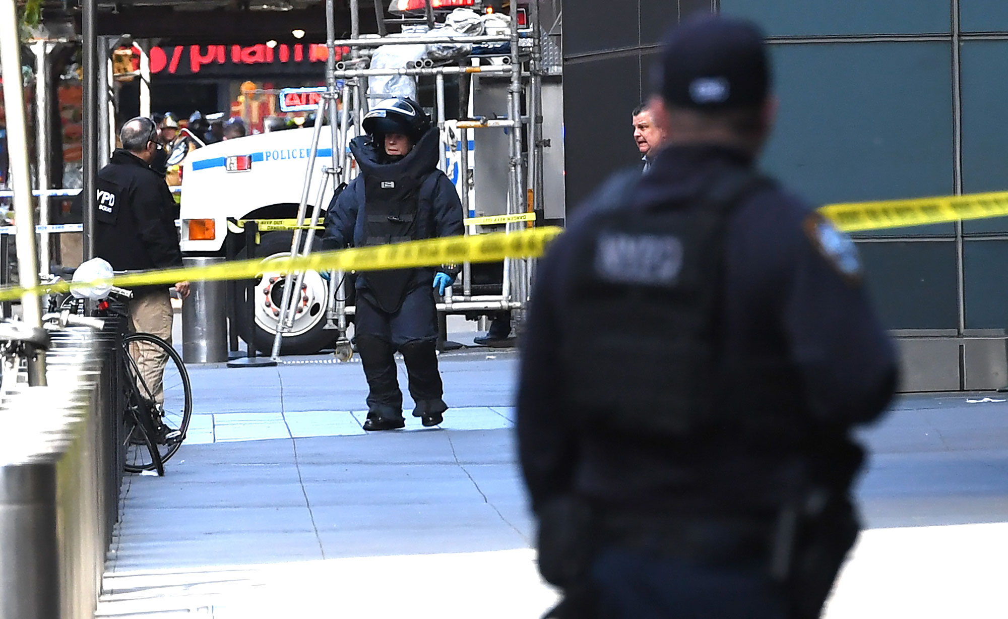 <div class='meta'><div class='origin-logo' data-origin='none'></div><span class='caption-text' data-credit='TIMOTHY A. CLARY/AFP/Getty Images'>A New York Bomb Squad unit exits the Time Warner Building on October 24, 2018.</span></div>