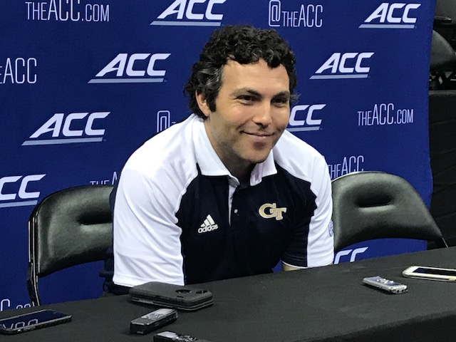 <div class='meta'><div class='origin-logo' data-origin='WTVD'></div><span class='caption-text' data-credit='Charlie Mickens'>Scenes from ACC Media Day on Wednesday. Georgia Tech coach Josh Pastner.</span></div>