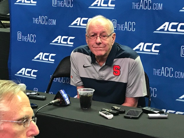 <div class='meta'><div class='origin-logo' data-origin='WTVD'></div><span class='caption-text' data-credit='Charlie Mickens'>Scenes from ACC Media Day on Wednesday. Syracuse coach Jim Boeheim.</span></div>