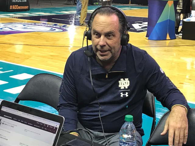 <div class='meta'><div class='origin-logo' data-origin='WTVD'></div><span class='caption-text' data-credit='Charlie Mickens'>Scenes from ACC Media Day on Wednesday. Notre Dame coach Mike Brey.</span></div>