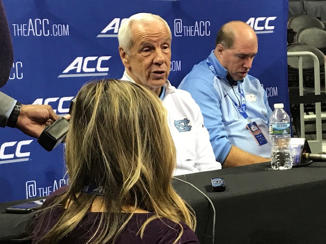 <div class='meta'><div class='origin-logo' data-origin='WTVD'></div><span class='caption-text' data-credit='Charlie Mickens'>Scenes from ACC Media Day on Wednesday. UNC coach Roy Williams.</span></div>