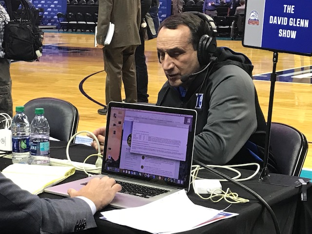 <div class='meta'><div class='origin-logo' data-origin='WTVD'></div><span class='caption-text' data-credit='Charlie Mickens'>Scenes from ACC Media Day on Wednesday. Duke coach Mike Krzyzewski.</span></div>