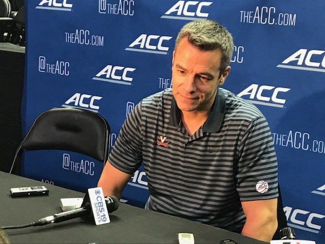 <div class='meta'><div class='origin-logo' data-origin='WTVD'></div><span class='caption-text' data-credit='Charlie Mickens'>Scenes from ACC Media Day on Wednesday. Virginia coach Tony Bennett.</span></div>