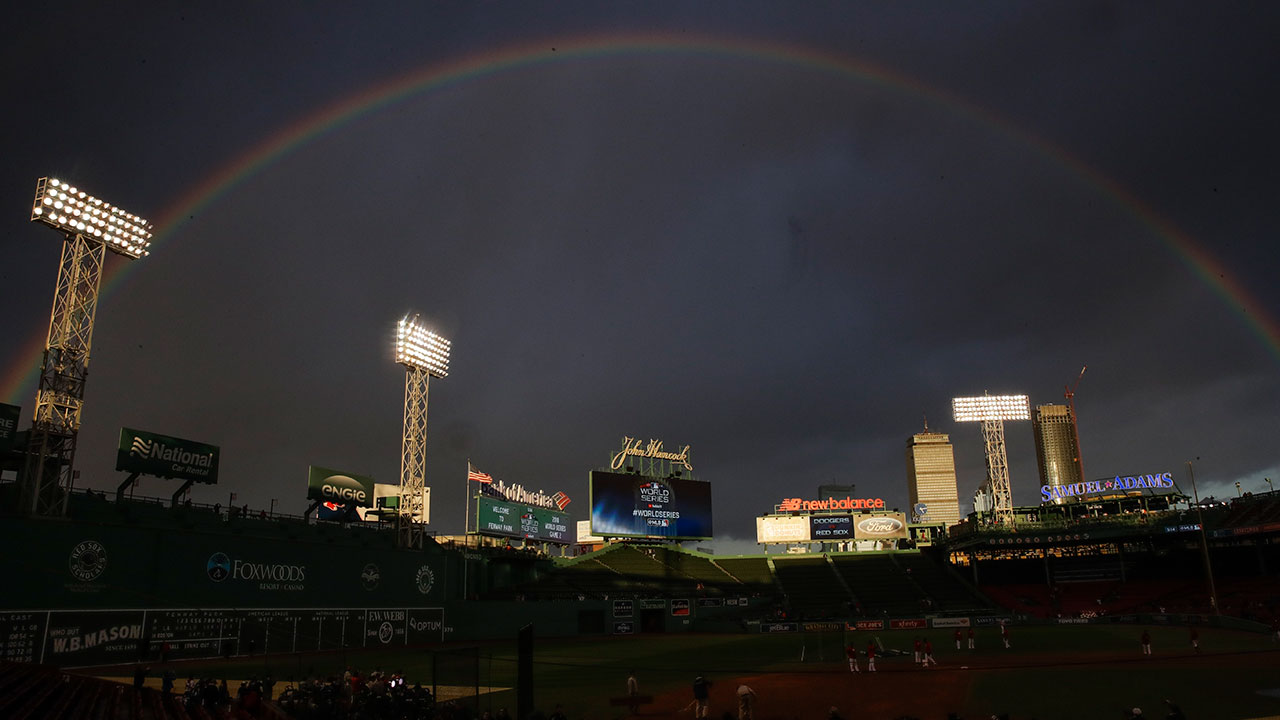 <div class='meta'><div class='origin-logo' data-origin='AP'></div><span class='caption-text' data-credit='AP Photo/Charles Krupa'>A rainbow stretches over Fenway Park before Game 2 of the World Series game between the Boston Red Sox and the Los Angeles Dodgers Wednesday, Oct. 24, 2018, in Boston.</span></div>