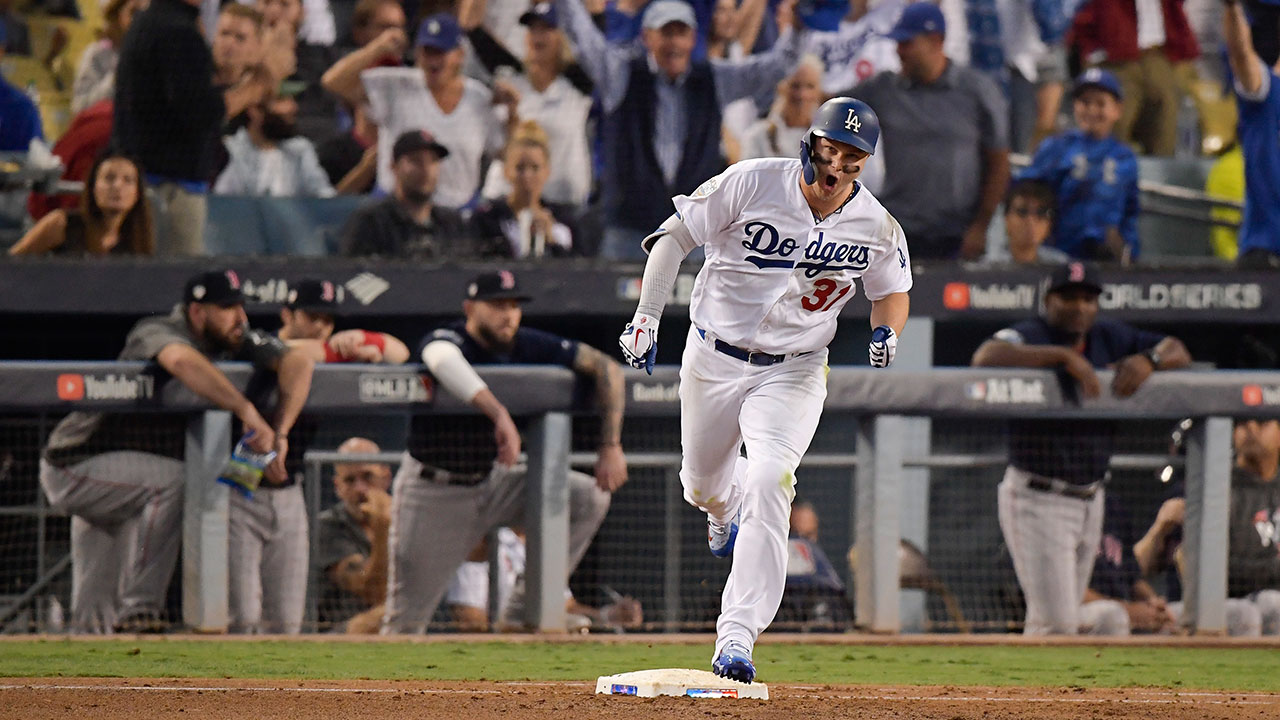 <div class='meta'><div class='origin-logo' data-origin='AP'></div><span class='caption-text' data-credit=''>Los Angeles Dodgers' Joc Pederson celebrates after a home run against the Boston Red Sox during the third inning in Game 3 of the World Series.</span></div>
