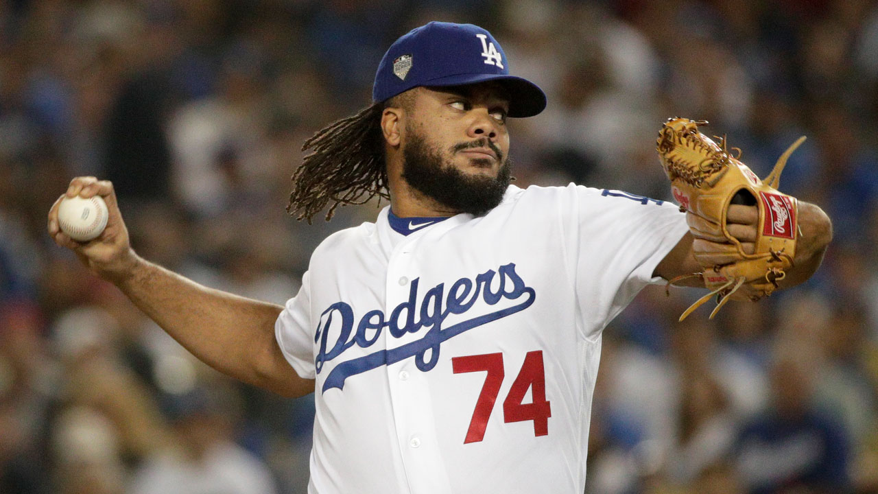 <div class='meta'><div class='origin-logo' data-origin='AP'></div><span class='caption-text' data-credit='AP Photo/Jae C. Hong'>Los Angeles Dodgers relief pitcher Kenley Jansen throws against the Boston Red Sox during Game 3 of the World Series baseball game in Los Angeles.</span></div>