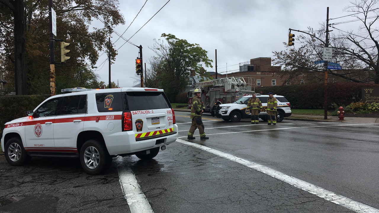 <div class='meta'><div class='origin-logo' data-origin='Creative Content'></div><span class='caption-text' data-credit='WTAE'>First responders surround the Tree of Life Synagogue in Pittsburgh, Pa., where a shooter opened fire Saturday, Oct. 27, 2018.</span></div>