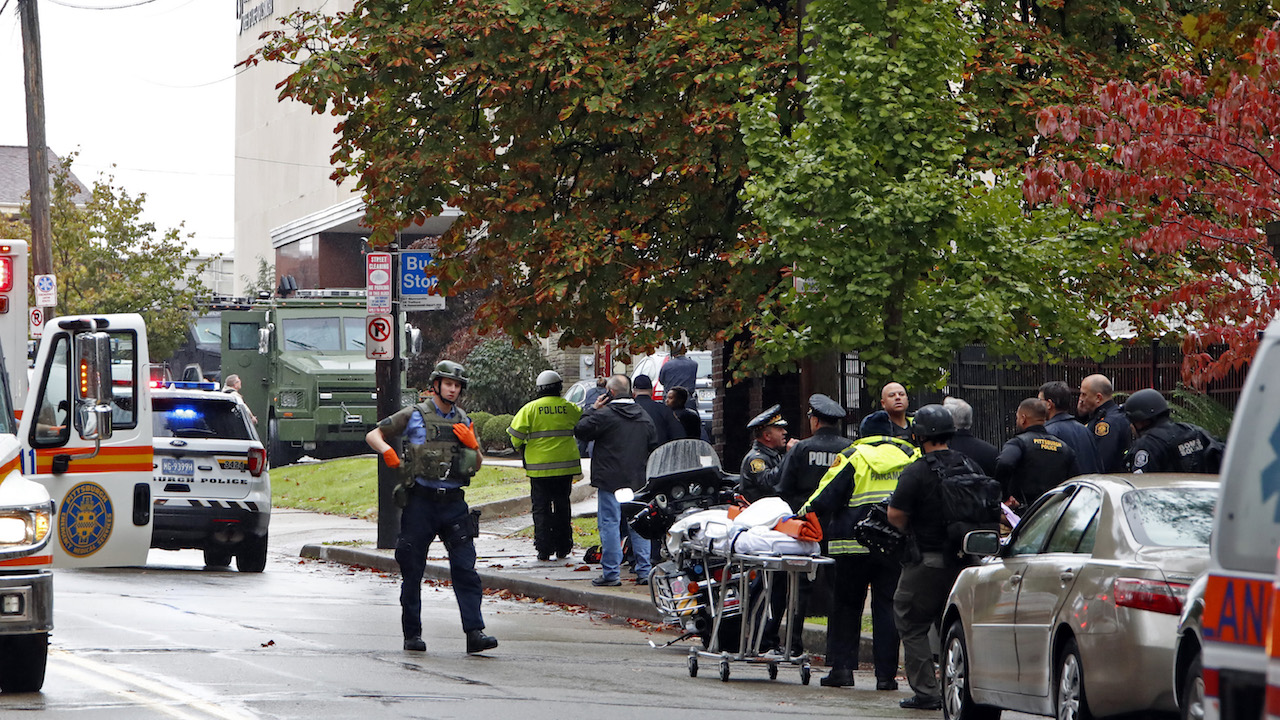 <div class='meta'><div class='origin-logo' data-origin='AP'></div><span class='caption-text' data-credit='AP Photo/Gene J. Puskar'>First responders surround the Tree of Life Synagogue in Pittsburgh, Pa., where a shooter opened fire Saturday, Oct. 27, 2018.</span></div>