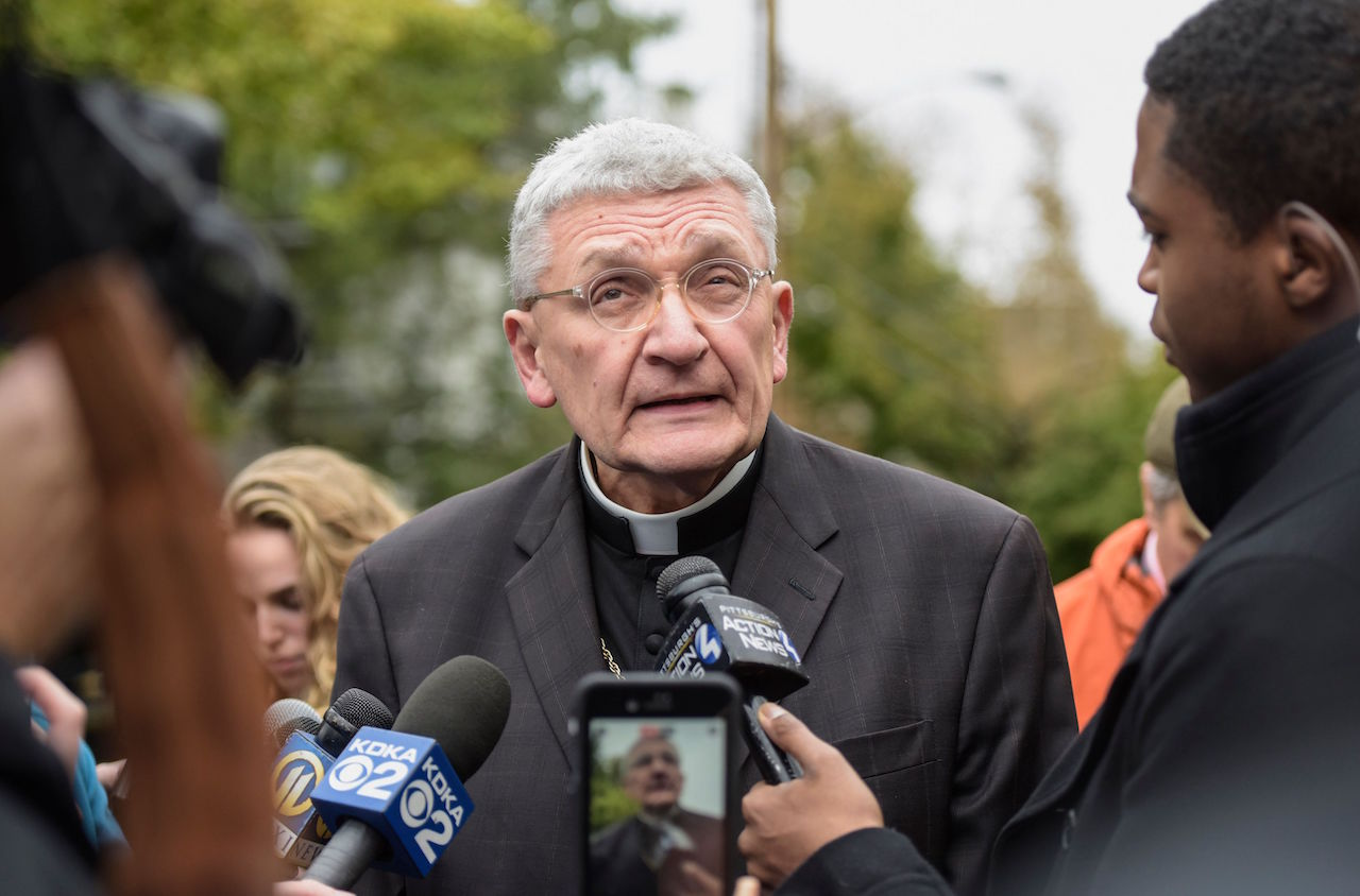 "<div class=""meta image-caption""><div class=""origin-logo origin-image wpvi""><span>wpvi</span></div><span class=""caption-text"">Bishop David Zubick of the Diocese of Pittsburgh addresses members of the media near the Tree of Life Synagogue, the scene of a mass shooting earlier in the morning, in Pittsburgh. (Dustin Franz/AFP/Getty Images)</span></div>"