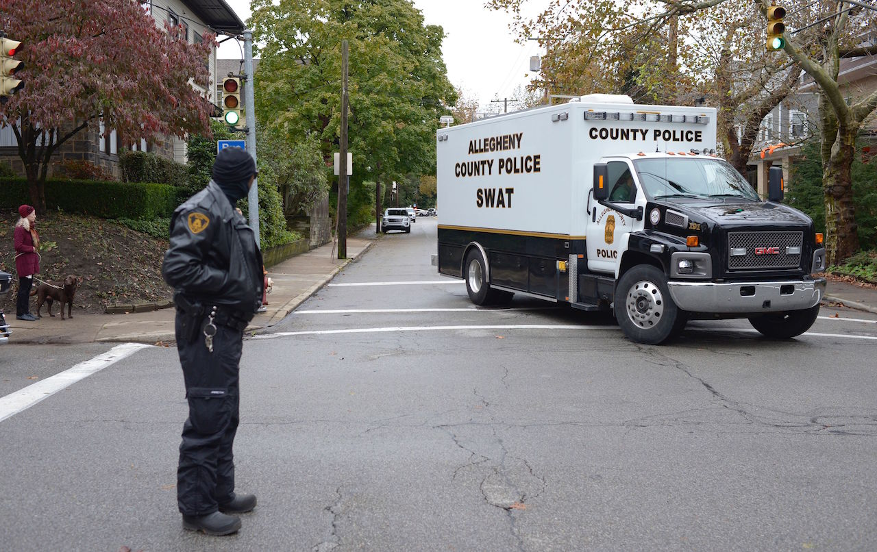 "<div class=""meta image-caption""><div class=""origin-logo origin-image ktrk""><span>ktrk</span></div><span class=""caption-text"">A SWAT team truck turns on a street near the Tree of Life Synagogue, after a gunman opened fire inside at Squirrel Hill, Pennsylvania, on October 27, 2018. (Dustin Franz/AFP/Getty Images)</span></div>"