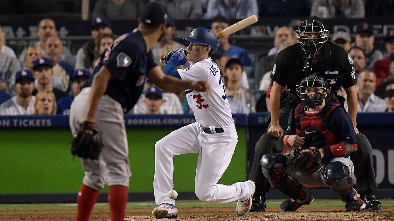 <div class='meta'><div class='origin-logo' data-origin='none'></div><span class='caption-text' data-credit=''>Boston Red Sox catcher Christian Vazquez watches as Los Angeles Dodgers' Cody Bellinger reacts after hitting his leg with a foul tip d the fourth inning of World Series Game 4.</span></div>