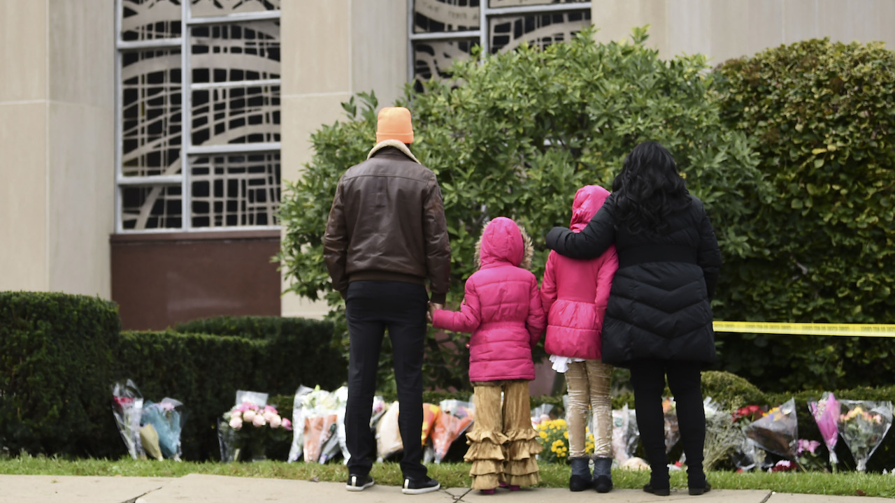 <div class='meta'><div class='origin-logo' data-origin='AP'></div><span class='caption-text' data-credit='Brendan Smialowski/AFP/Getty Images'>People stand in front of a memorial on October 28, 2018, outside of the Tree of Life Synagogue after a shooting there left 11 people dead in Pittsburgh on October 27, 2018.</span></div>
